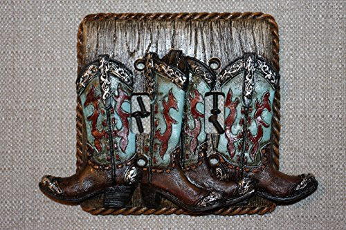 (2), Western theme Bathroom Decor, Boots Double Switch Plate Cover,3D Realistic