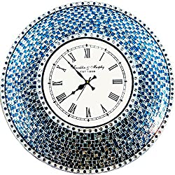 DecorShore 22.5 Silver/Turquoise Mosaic Wall Clock, Decorative Round Wall Clock