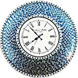 DecorShore 22.5″ Silver/Turquoise Mosaic Wall Clock, Decorative Round Wall Clock For Sale