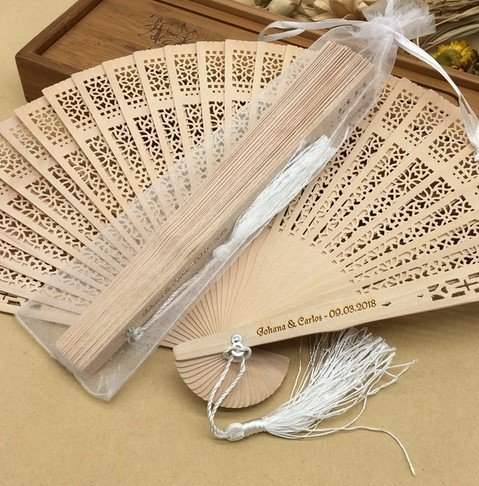 Personalized Asian Pocket Folding Fan Wooden Carved Hand Folding Fans Wedding Favors And Gifts Bag 30Pcs by Hand Fan