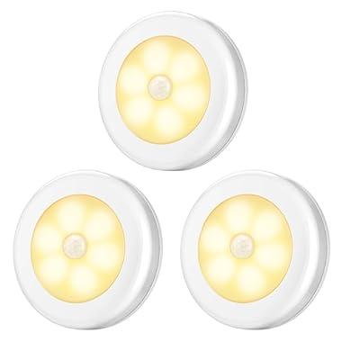 AMIR Motion Sensor Light, Cordless Battery-Powered LED Night Light, Stick-anywhere Closet Lights Stair Lights, Safe Lights for Hallway, Bathroom, Bedroom, Kitchen, etc. (Warm White - Pack of 3)