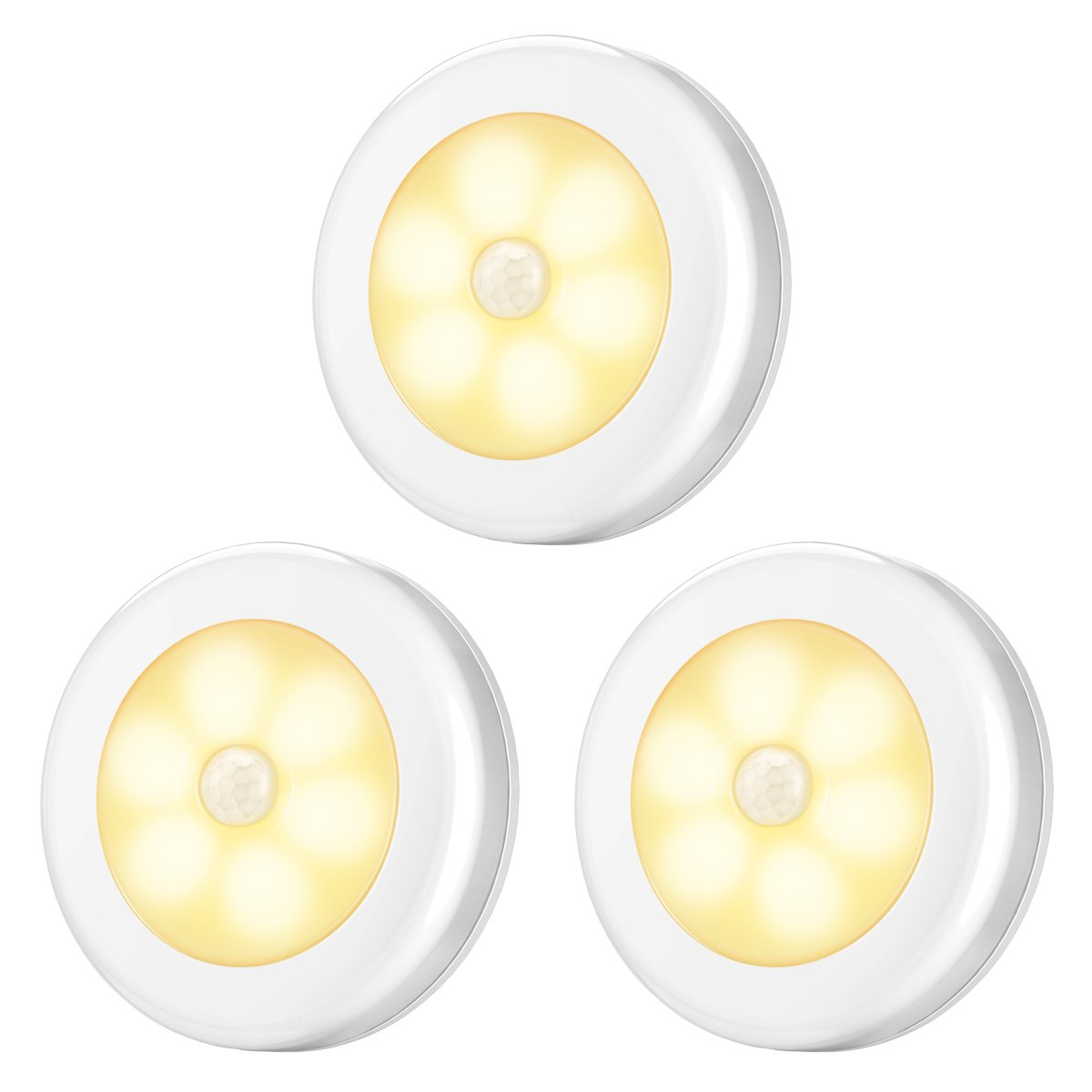 AMIR Motion Sensor Light, Cordless Battery-Powered LED Night Light, Stick-anywhere Closet Lights Stair Lights, Safe Lights for Hallway, Bathroom, Bedroom, Kitchen, etc. (Warm White - Pack of 3)