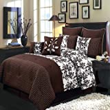 Bliss Chocolate and White Queen size Luxury 8 piece comforter set includes Comforter, bed skirt, pillow shams, decorative pillows