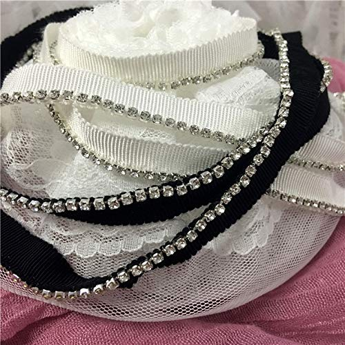Lace Crafts - Lace Clothing Stage Costume DIY Thread with Shiny Diamond lace Trim Doll Costume with Flash Diamond lace Accessories Decoration - (Color: White) ()