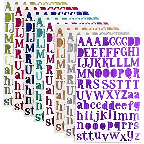 BronaGrand 8 Sheets Letter Stickers Alphabet Sticker Self Adhesive Letters for Crafts,Scrapbooking(8 Colors)