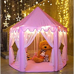 Kids Play House Princess Tent - Indoor and Outdoor Hexagon Pink Castle Play tent for Girls with Light by MonoBeach