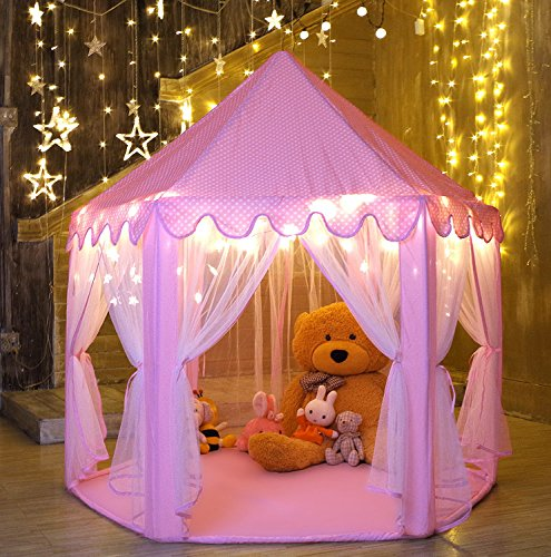 Monobeach Kids Play House Princess Tent - Indoor and Outdoor Hexagon Pink Castle Play Tent for Girls with Light -