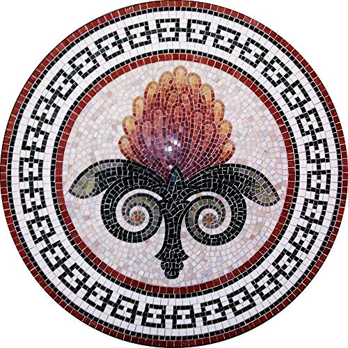 MEC - The Floral Glimmer Roman Custom Handmade Marble Mosaic Medallion Tiles Wall Backsplash Bath Home Decor Motif Floor Art Rug (can be made with glass mosaic)
