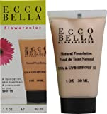 Ecco Bella FlowerColor Natural Liquid Foundation - Vegan, Gluten and Paraben-Free Makeup for Flawless Coverage, Bisque, 1 oz.