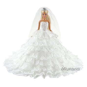 Miunana 1 Novia Vestido Bordado Ropa Vestir Boda para Barbie Muñeca - Blanco