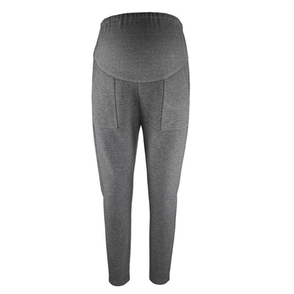 zenicham Maternity Women Winter Thermal Woolen High Waist Elastic Casual Work Pants ZM-YF0101