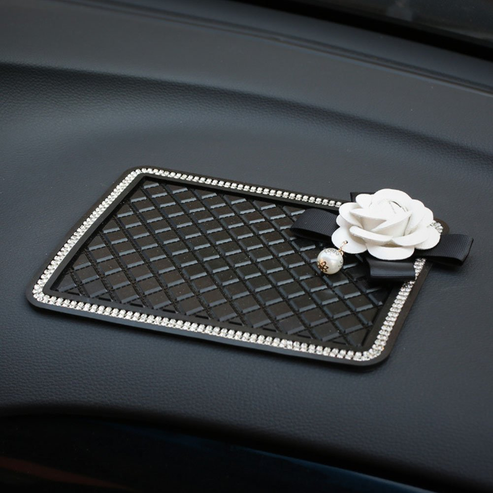 Lzttyee Camellia Flower Crystal Pearl Car Dashboard Pad Anti-Slip Dash Sticky Mat for Cell Phone and Accessories Holder White Flower