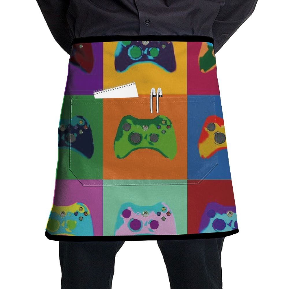 Colorful Game Gamepad Adjustable Apron With Pocket For Kitchen Garden Cooking Grilling Chef Waitress Great Gift For Wife Ladies Men Boyfriend