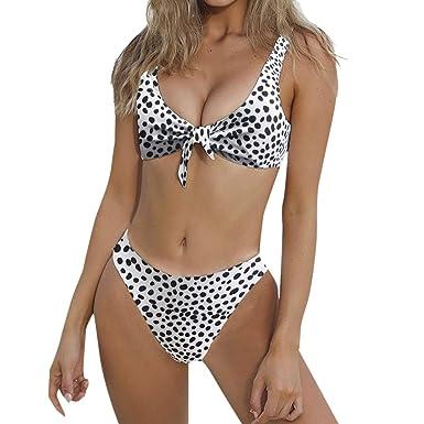 ba1e7b2062b 2018 Style Women Knotted Padded Thong Bikini Mid Waisted Scoop Swimsuit  Beach Swimwear 2 Piece New