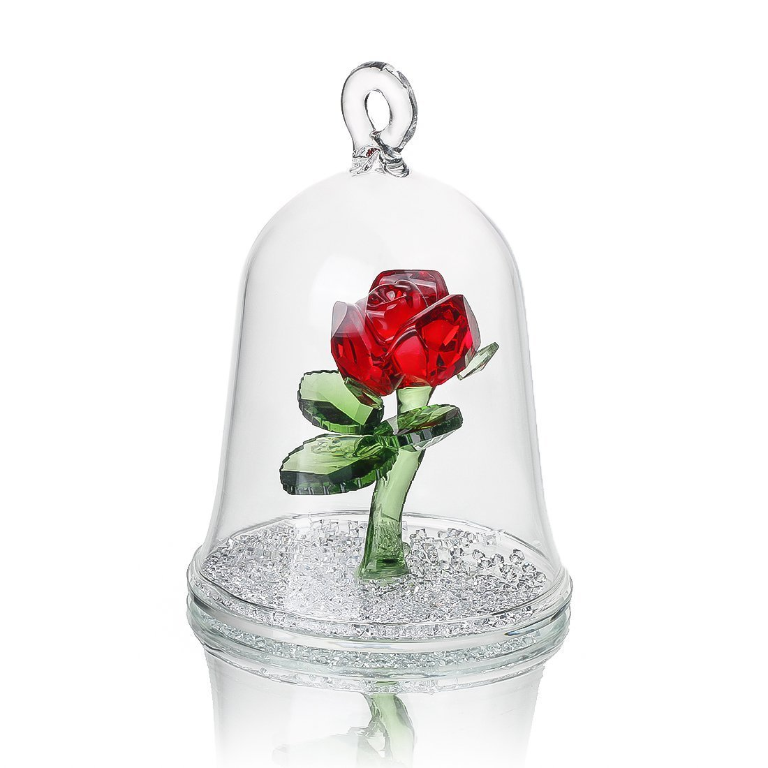 H&D Crystal Enchanted Rose Flower Figurine Dreams Ornament in a Glass Dome Gifts for her (Royal Blue)