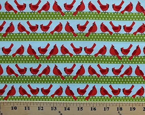 Cotton Cardinals Birds Stripes Polka Dots Festive Christmas Winter Holiday Sweet Tweets Cotton Fabric Print by The Yard (awn-13612-223-holiday) (Sweet Holiday Stripes)