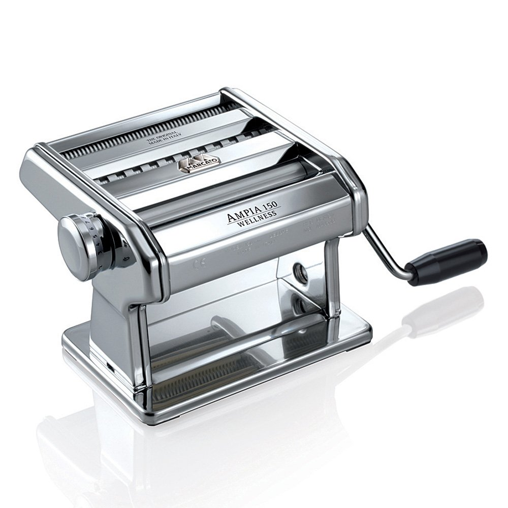 Marcato Atlas Ampia Pasta Machine, Made in Italy, Chrome Plated Steel, Silver, Includes Pasta Cutter, Hand Crank, and Instructions