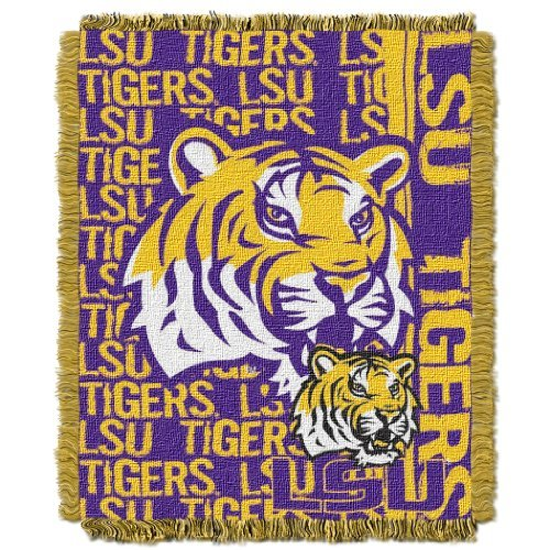 (The Northwest Company Officially Licensed NCAA LSU Tigers Double Play Jacquard Throw Blanket, 48