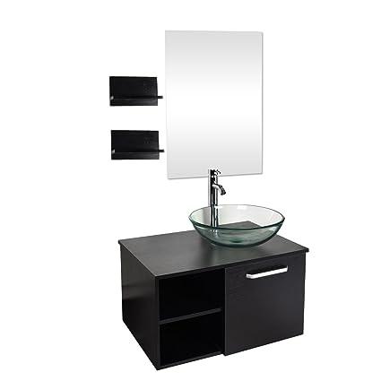28 Inch Bathroom Vanity Set Modern Mdf Stand Pedestal Cabinet And