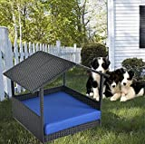 LEAPTIME Garden Puppy Seating PE Rattan Pet Bed Home Patio Dogs House w/Roof Outdoor Black Wicker Pet Sofa with Cushion-Royal Blue