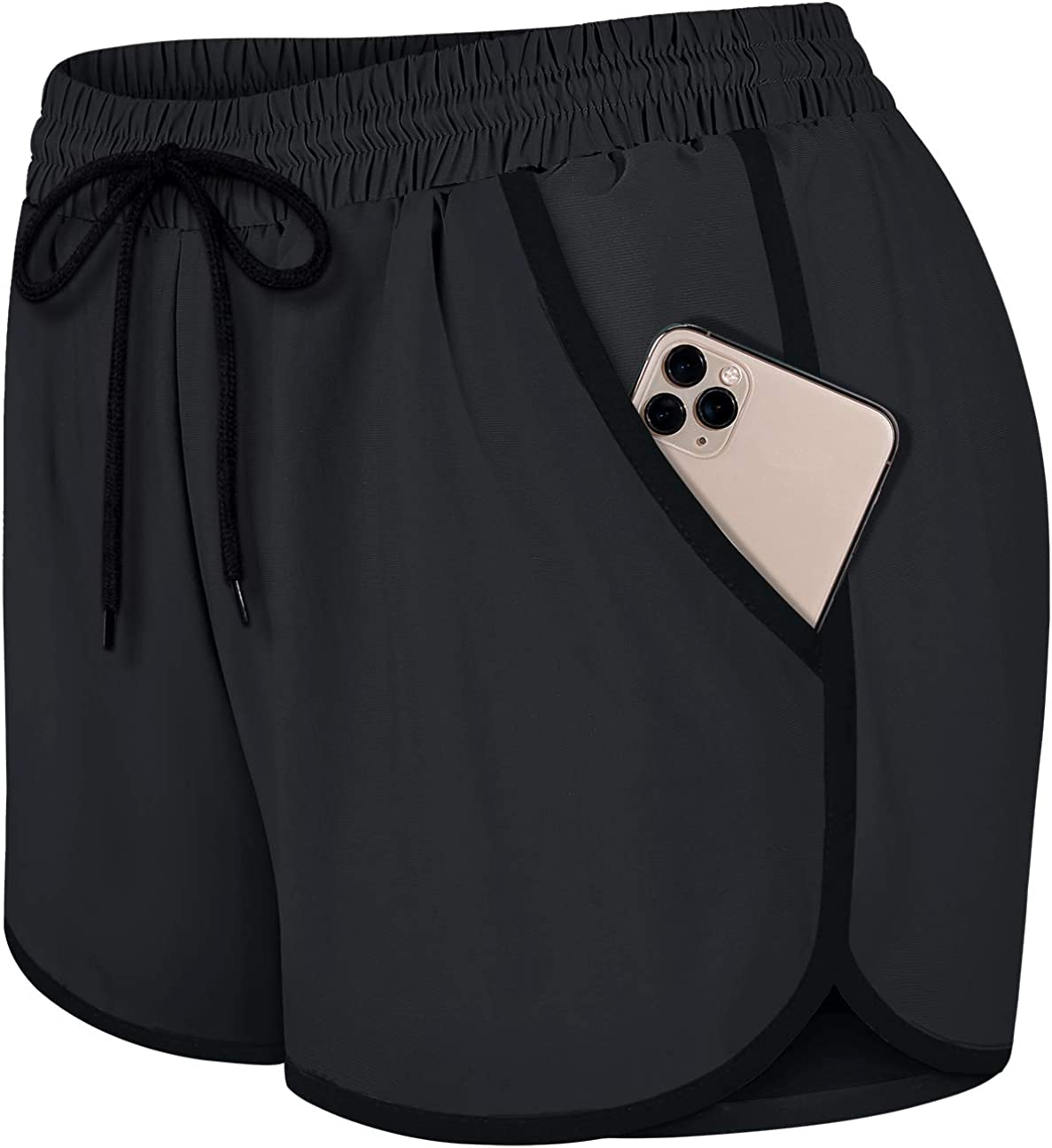 Fulbelle Womens Double Layer Drawstring Elastic Waist Athletic Shorts with Pockets: Clothing