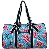 NGIL Quilted Weekend Travel Overnight 20'' Large Duffle Bag 2018 Spring Collection (Turtle and Me Navy Blue)