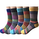 Pack of 5 Womens Vintage Style Cotton Knitting Wool Warm Winter Fall Crew Socks, Mixed color 2, One size