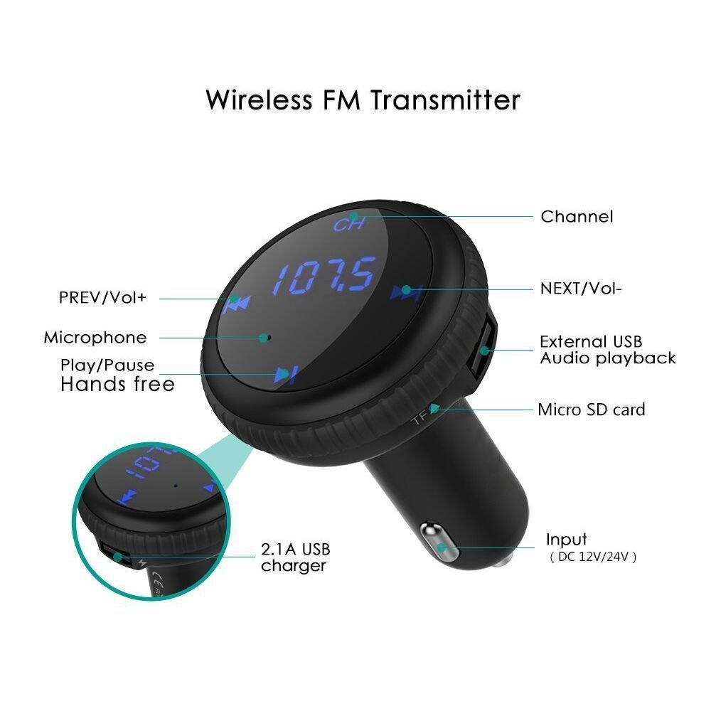 ROADWI Bluetooth FM Transmitter with LED Displayer, Wireless In-Car FM Transmitter Radio Adapter Car Kit 5V/2.1A Car Charger MP3 Player for Most Bluetooth Enable Devices