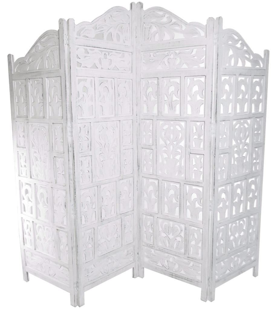 Lovely 4 Panel Heavy Duty Indian Screen Wooden Gamla Design Screen Room Divider[White,183x50cm  Per Panel,202cm Wide Open]: Amazon.co.uk: Kitchen U0026 Home