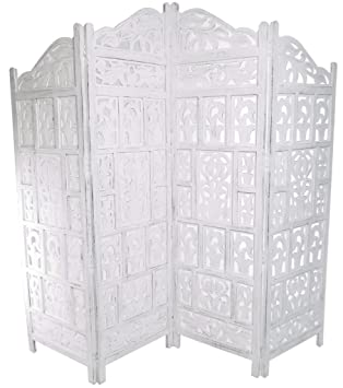 4 Panel Heavy Duty Indian Screen Wooden Gamla Design Screen Room Divider White 183x50cm