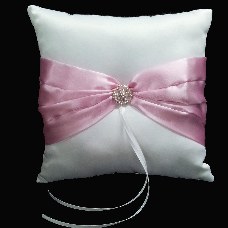 Wedding Ceremony White Satin Ring Pillow Cushion Pink Ribbon