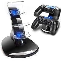 Cargador Mandos PS4,Estación de Carga Doble Cargador Base de Carga Cargador Doble Mando para PS4 Estación de Carga…