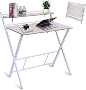 BLNDQMY Folding Desk for Small Space No Assembly Required, 2 Tiers Foldable Writing Computer Desks with Shelf Home Office Table, Student Study Table, (White, 31 Inch)