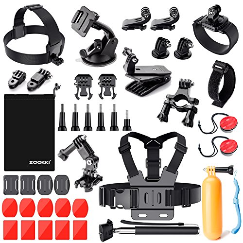 Zookki Outdoor Sports Accessories Kit for GoPro Hero Black Silver 5/4/3+/3/2/1 SJ4000 SJ5000 SJ6000, Accessories for Action Video Cameras Xiaomi Yi/WiMiUS/Lightdow/DBPOWER/ dOvOb