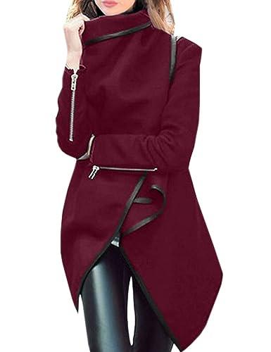 EMMA Parka de otoño para Mujer Chaqueta Asimétrica de Invierno Manga larga Slim Coat Outwear
