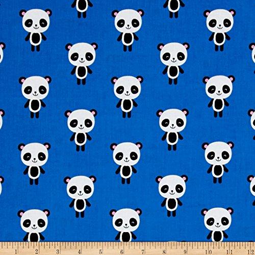 Robert Kaufman Panda - Robert Kaufman Kaufman Urban Zoology Panda Blue Fabric by The Yard