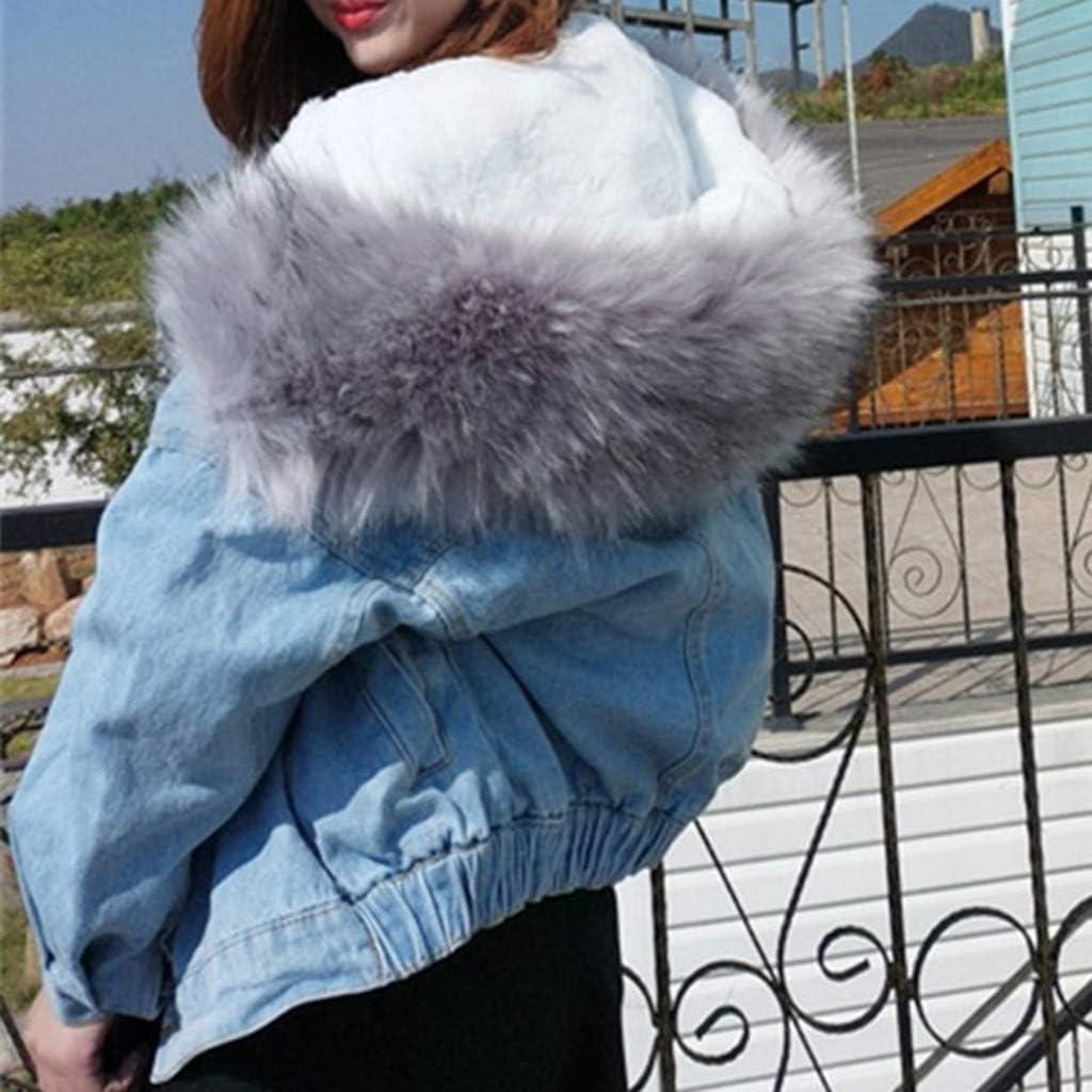Blousons Classique Parka Femme avec Capuche Hiver /à Manches Longues pour Cowboy Veste en Jean Femme Courte Manteau Capuche Fourrure