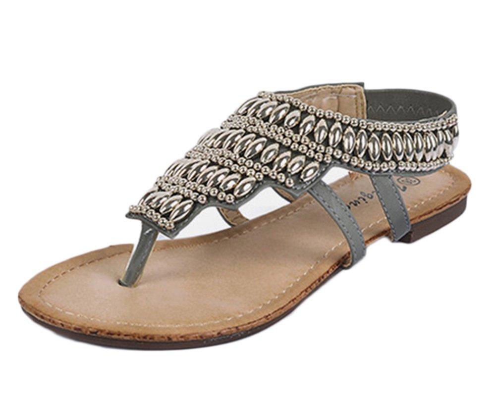 Qitun Damen Casual Roman T-Strap Sandalen Strass Metallic Schuhe Zehentrenner Flats Strand Flip Flops  36 EU|Grau