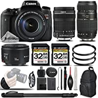 Canon EOS T6s DSLR Camera + Canon EF-S 18-135mm IS STM Lens + Canon EF 50mm f 1.8 II Lens + Tamron Zoom Telephoto 70-300mm Autofocus Lens - All Original Accessories Included - International Version