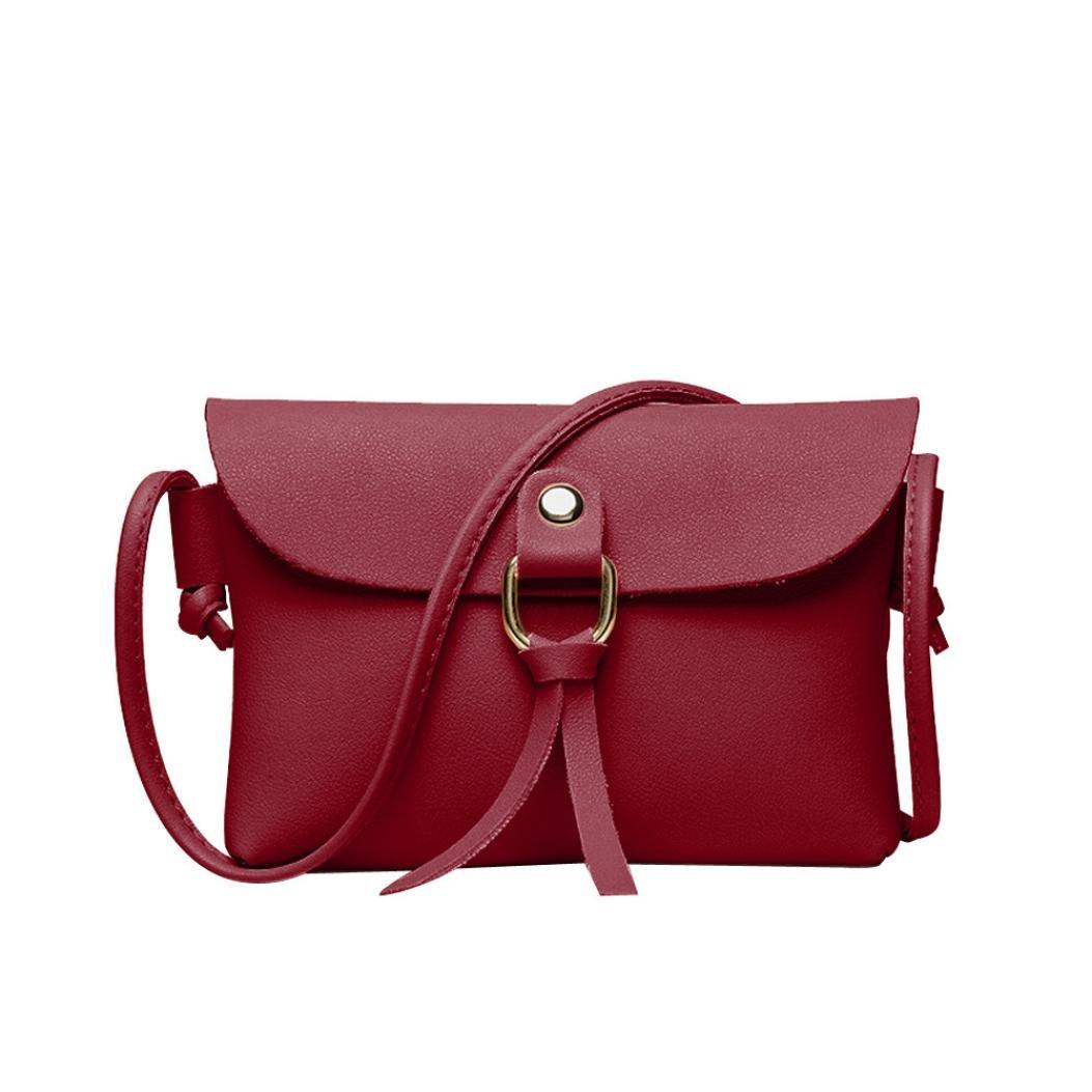 Rakkiss Women Shoulder Bag Girl Handbags Phone Coin Bag Fashion Solid Cover Tassels Crossbody Messenger Bag (One_Size, Red)