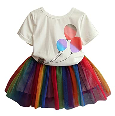 f20cefe0c58c BomDeals Adorable Cute Toddler Baby Girl Clothing 2pcs Outfits (7, Rainbow)