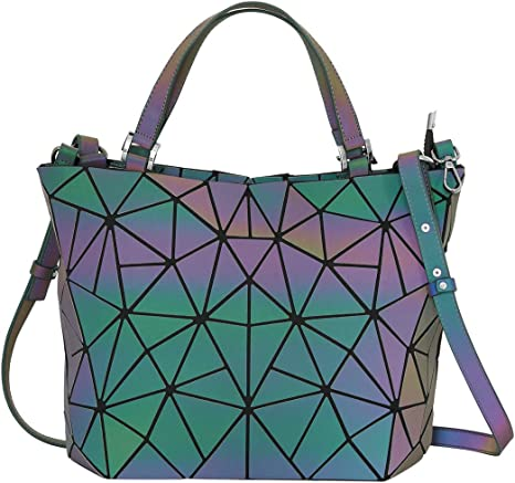 Woman Geometric Lattice Luminous Tote Shoulder Bag Holographic Reflective Cross Body Bag Geometry Lingge Purses Handbags for Ladies Girls
