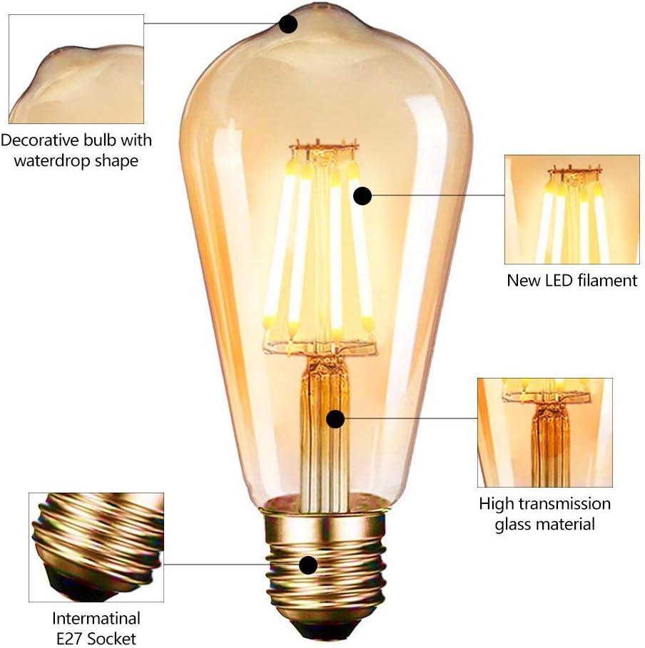 6x Vintage Filament LED Edison Bulb E27 Decorative Light 4W Screw Energy Saving