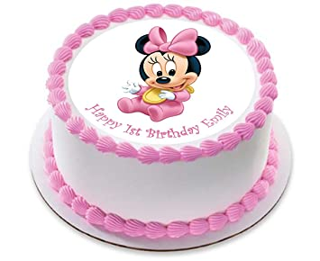 38f21b34911d5 Minnie Mouse Rose bébé personnalisé gâteau Sucre papier 19