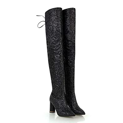 a54dc7b00ec Fashion Over The Knee Boot Women Sexy Pointed Toe Sparkle Sequins Transparent  High Heel Party Dance