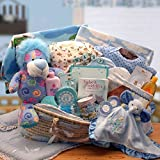 Sweet Baby Boy Gift Basket in Moses Carrier -Blue Deluxe XL