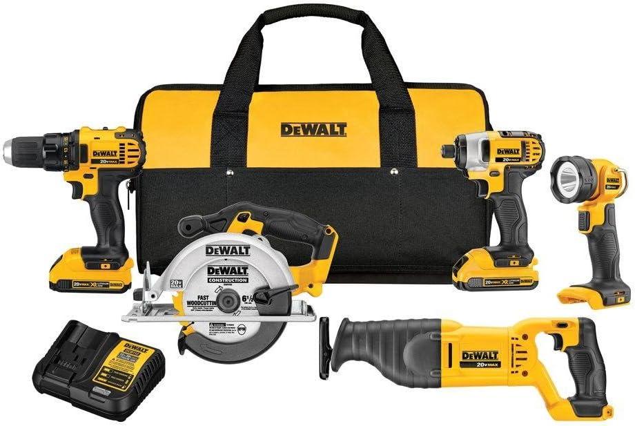DEWALT 20V MAX Cordless Drill Combo Kit, 5-Tool DCK520D2