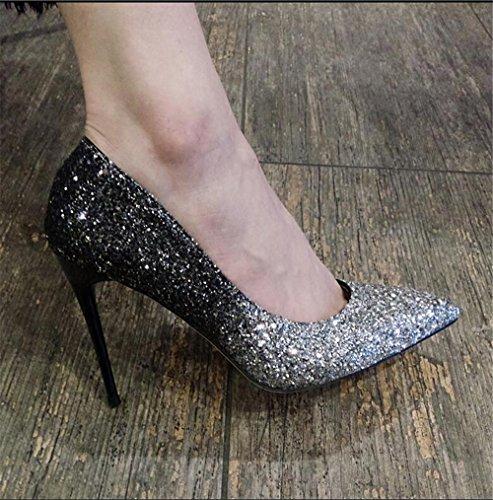 Silber mit Schwarz Wies 10CM Schuhen Schuhe 210 Schuhe Farbverlauf Stöckelschuhe Hohen Frauen Xue Gut mit Silber Weiblichen Mund Absätzen Hochhackigen Flachen Court 32 Qiqi Einzelnen BwzFqT14