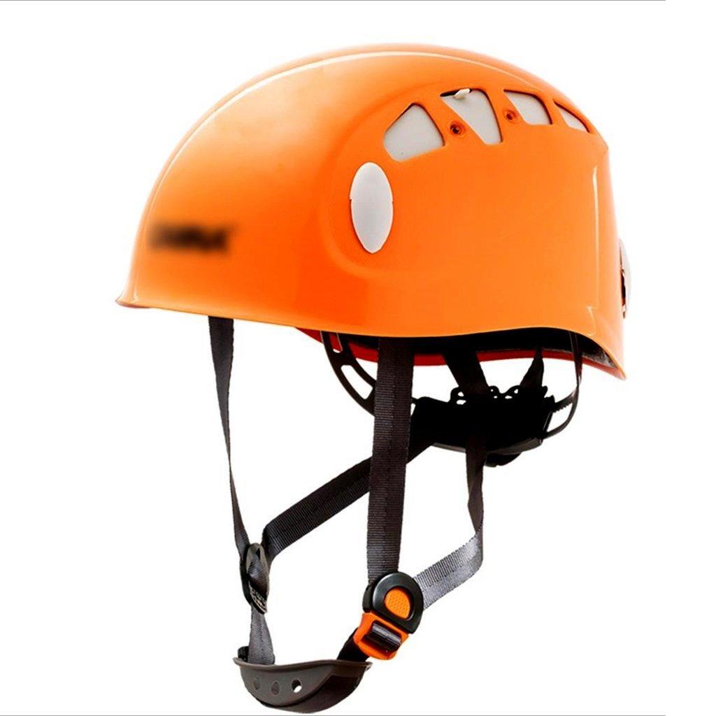 Radsport Helme Zubehör Outdoor-Klettern Bergsteigen Helm Riding Downhill Expansion Rettungs Helm schützende Höhle Helm (Farbe   Orange, Größe   52-62cm)
