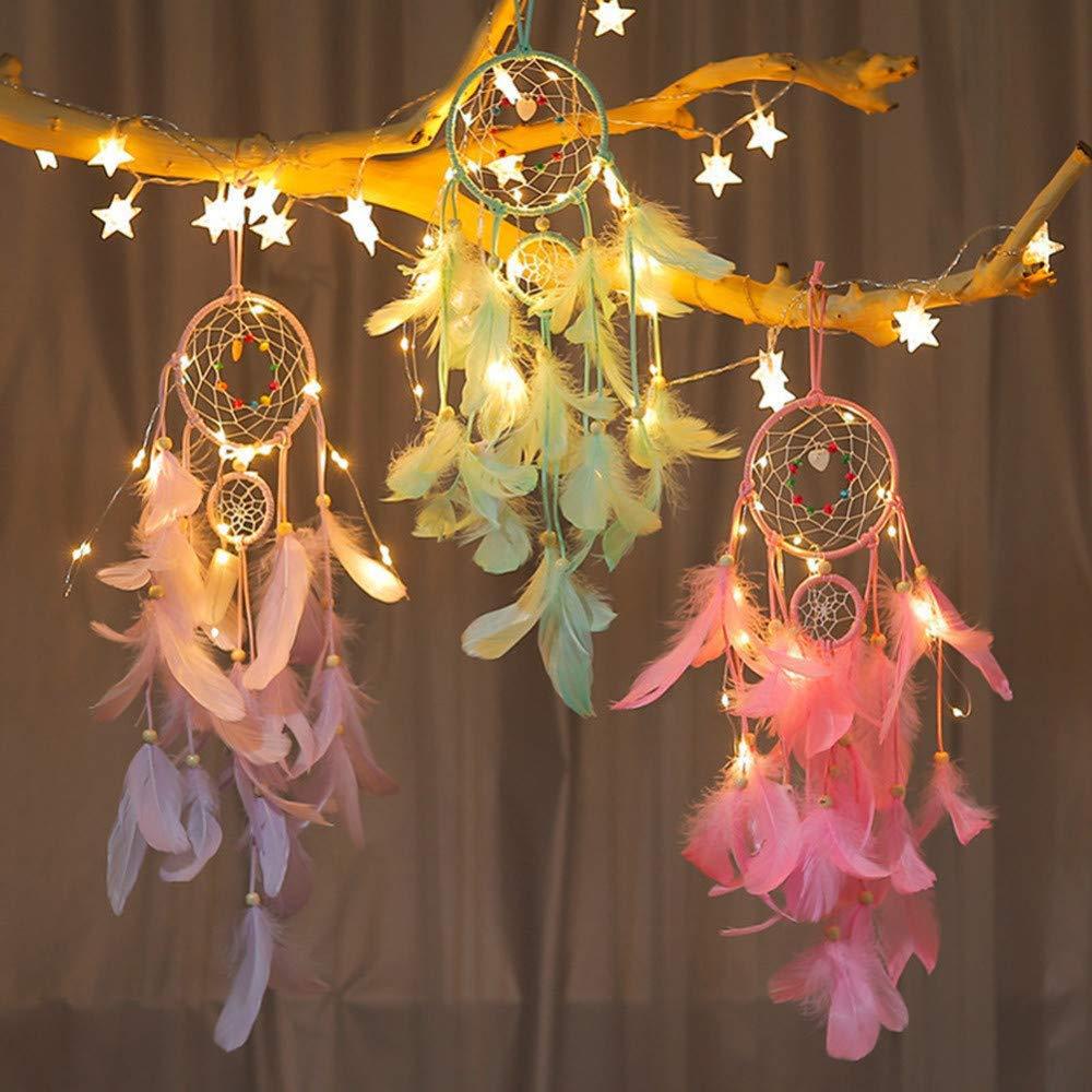 Lighting Hanging Decoration Light 2 Meter 20 LED Copper Wire Lamp Festival Night Light for Bedroom Dream Catcher Lights LQCN-Green